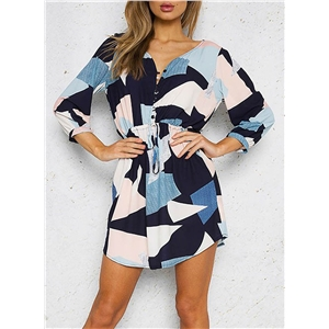 Fashion V Neck 3/4 Sleeve Patchwork Drawstring Waist Mini Dress