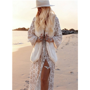 Bohemian V Neck Long Sleeve High Slit Maxi Dress