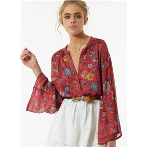 Loose Fit Long Sleeve Floral Pullover Blouse