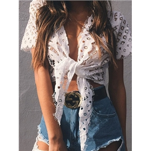White Cutwork Lace Tie Front Short Sleeve Crop Top