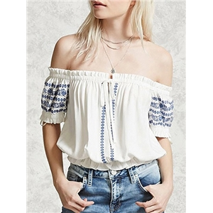 White Off Shoulder Shirred Panel Tie Front Embroidery Detail Blouse