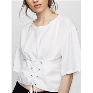 White Lace Up Front Short Sleeve Cropped T-shirt