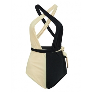 Khaki and Black Contrast Plunge Multi-way Strap Swimsuit