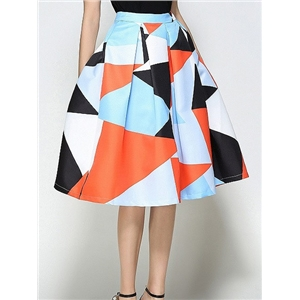 Polychrome Geo Pattern High Waist Prom Midi Skirt