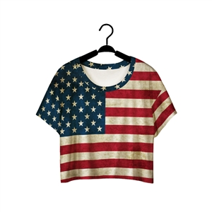 Polychrome American Flag Print Batwing Sleeve T-Shirt