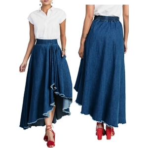 Asymmetric Hem Denim Frayed Trim Flared Maxi Skirt
