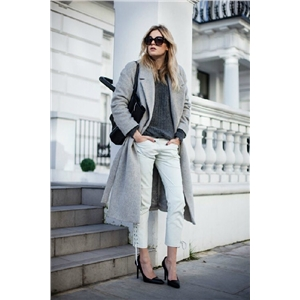 Fall Winter Women Simple Cashmere Maxi Long design Robe Belted Coat