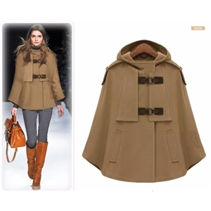 2017 Autumn Winter Brown Navy Cashmere Hooded Cape Coat