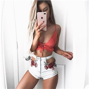 Sexy Appliques Rose Style Women Shorts Cross Embroidery High Waist Casual Denim Short Pants
