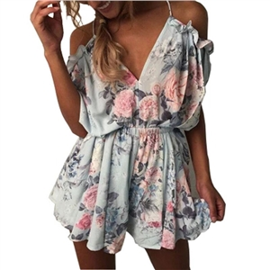 Printed braces V collar Halter Siamese shorts