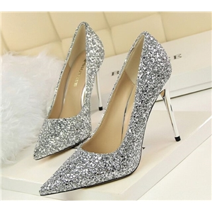 Sequined Silver High Heels