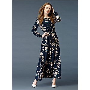 Floral Print Elastic Waist Long Sleeve Button Down Maxi Dress