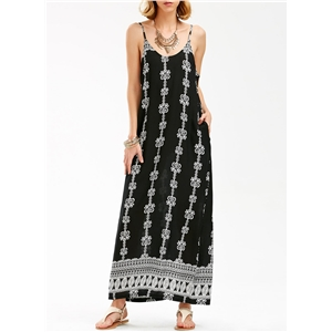 Spaghetti Strap Print V Neck Off Shoulder Maxi Dress