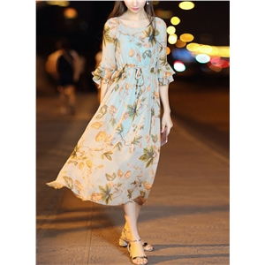 Round Neck Flounce Sleeve Floral Print Chiffon Midi Dress