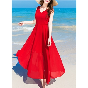 Solid Color V Neck Sleeveless Chiffon Dress