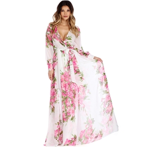 Floral V Neck Long Sleeve Tie Waist Maxi Dress