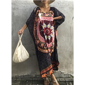 V Neck Short Batwing Sleeve Tribal Printed Loose Maxi Dress