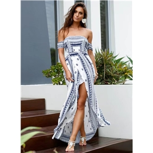 off Shoulder High Slit Boho Maxi Dress