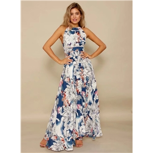 Halterneck off Shoulder Backless High Slit Maxi Floral Dress