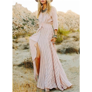 Striped V Neck 3/4 Sleeve front Slit Maxi Dress