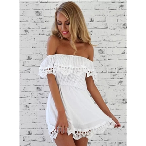 Solid Lace off Shoulder Ruffle Mini Dress