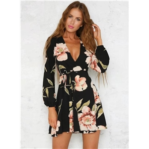 Fashion V Neck Long Sleeve Floral A-line Dress