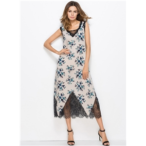 Spaghetti Strap Sleeveless Floral Printed Maxi Dress