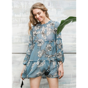 Casual Long Sleeve Floral Ruffle Mini Dress