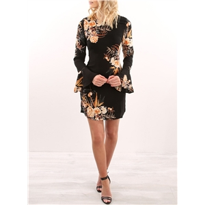 Floral Long Flare Sleeve Bodycon Dress