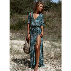 Boho V Neck 3/4 Sleeve High Slit Maxi Beach Dress