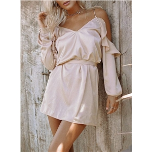 Long Sleeve Spaghetti Straps Backless Day Dress