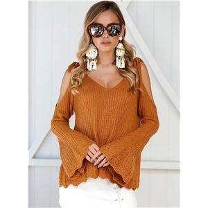 off Shoulder Strap V Neck Knit Pullover Sweater