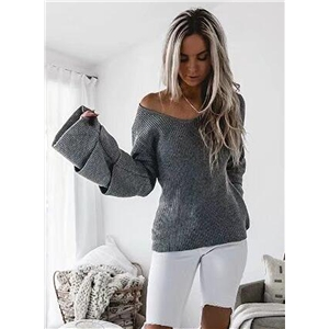 V Neck Flare Sleeve Knitted Pullover Sweater