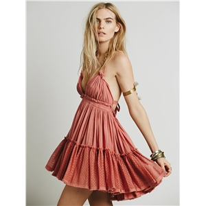 Sexy backless beach holiday dress