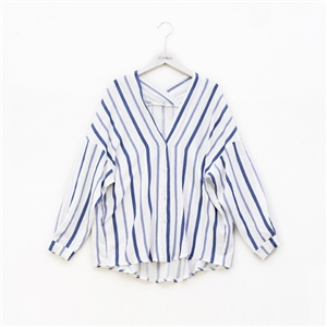 V collar loose striped Long Sleeve Shirt