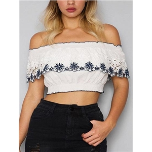 White Off Shoulder Cutwork Detail Embroidery Crop Top