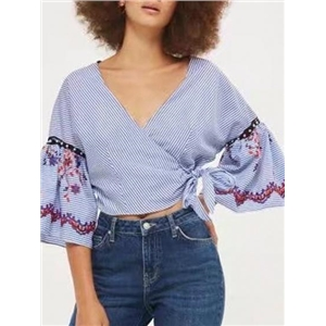 Blue V-neck Embroidery Tie Side Cropped Wrap Blouse