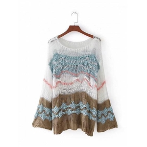 Polychrome Mixed Stripe Flare Sleeve Open Knit Sweater