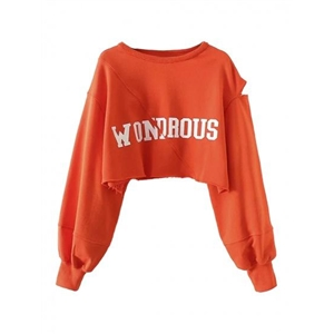 Orange Letter Print Cut Out Long Sleeve Cropped Sweatshirt