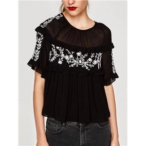 Black Sheer Panel Embroidery Detail Frill Trim Blouse