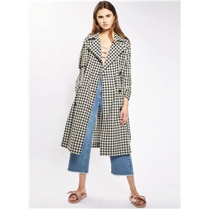 Turn-down Collar Long Sleeve Double Breasted Plaid Coat