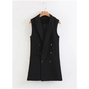 Double Breasted Solid Color Turn-down Collar Vest