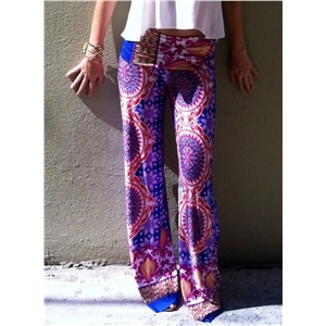 Vintage Floral Printed Long Pants