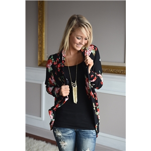 Autumn New Women Casual Outwear Boho Irregular Long Sleeve Wrap Cardigans Loose Floral Print Basic Plus Size Coats Tops