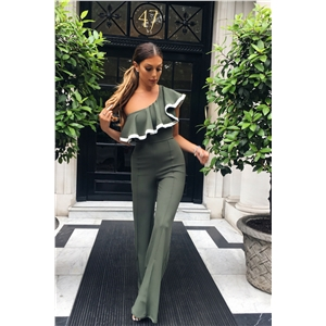 Womens Sexy Ruffles One Shoulder Jumpsuit Sleeveless Wide Leg Long Pants Rompers
