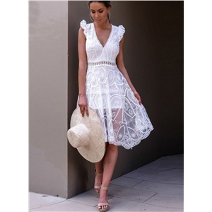 V Neck Sleeveless Backless Hollow out Lace Dress