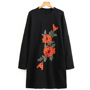 Round Neck Long Sleeve Floral Embroidery Dresses