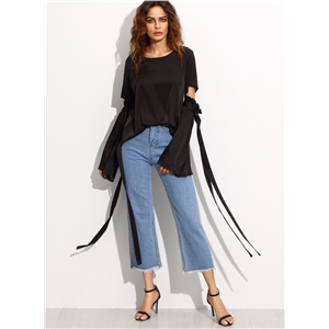 Round Neck Flare Sleeve Hollow out Lace up Blouse