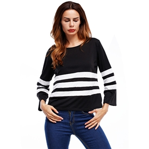 Round Neck Long Sleeve Striped Tops