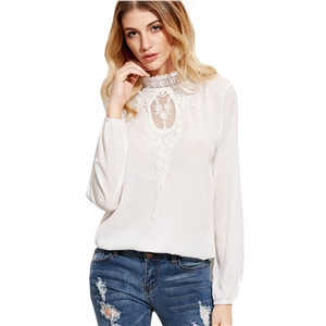 High Neck Long Sleeve Lace Splicing Blouses